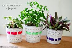 Cubre tiestos en ganchillo blanco y color by {Colorful Crochet Pot Covers by Mon Makes Things}
