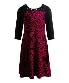 Love this Fuchsia & Black Animal Rhinestone Maxi Dress - Girls by Youngland on #zulily! #zulilyfinds