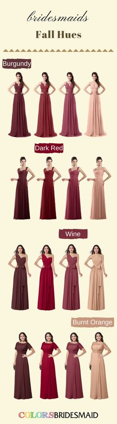 Want a long bridesmaid dresses in a fall wedding? Chiffon bridesmaid dresses in colors of burgundy, dark red, wine and burnt orange can not be more suitable. There are more than 500+ styles under $100 are waitting for you!