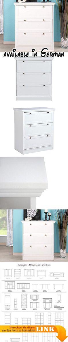 B017OP0MS8 : Schubkastenkommode Landström weiß 80x90x45 cm Kommode Unterschrank Sideboard Schrank Schlafzimmer Landhausmöbel. Schubkastenkommode Landström. Front und Kranz: MDF-Platten Korpus: Möbelplatten / Spanplatten Dekor: weiß. 3x Schubkasten. Griff-Knöpfe in Antik-Optik. Maße: Breite: 80 cm Höhe: 90 cm Tiefe: 45 cm Stellbreite (inkl. Kranz): 86 cm