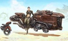 Diesel Punk Rey (Star Wars) by J Serna : alternativeart Cyberpunk, Arte Sci Fi, Sci Fi Art, Art Science Fiction, Hover Bike, Sci Fi Kunst, Design Spartan, Concept Motorcycles, Rey Star Wars