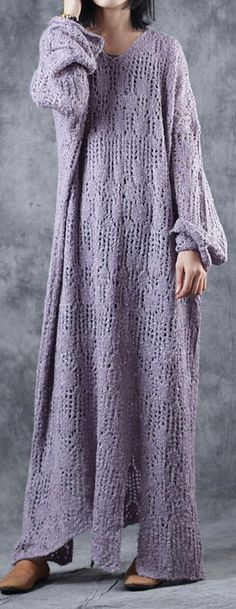 stylish light purple knit dresses Loose fitting v neck sweater women hollow out pulloverMost of our dresses are made of cotton linen fabric, soft and breathy. loose dresses to make you comfortable all the time. Linen Fabric, Cotton Linen, Purple Dress, Light Purple, Knit Dress, Size Clothing, Plus Size Outfits, Knits, Sweaters For Women