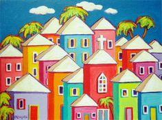 Colorful Houses Folk Art Original Painting Tropical Church Cat Caribbean - Little Village - Korpita ebsq