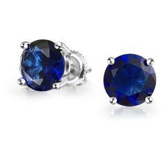 Round Simulated Sapphire CZ Screwback Studs 925 Silver 5mm (€17) ❤ liked on Polyvore featuring jewelry, earrings, accessories, studs, blue, fake earrings, round stud earrings, blue earrings, fake stud earrings and cz earrings