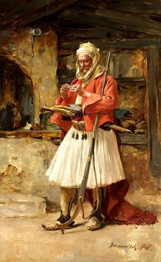 Portrait of an 'Arnaut', by Paul Joanovitch (1859-1957). Late-Ottoman era, ca. 1900. 'Arnavut'/'Arnaut' = Albanian. These 'başıbozuk' (mercenary, or irregular soldier of the Ottoman army) are originating from Epirus or Albania and can be recognized by their half-long skirt-like garment (called 'fustanella' in Greece).