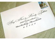 RSVP wedding envelope, bickham font