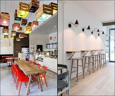 Cafe Shop Design, Shop Interiors, Coffee Shops, Conference Room, Pizza, Table, Furniture, Home Decor, Coffee Shop Interiors