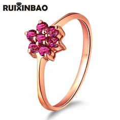 18K Rose Gold wedding Rings for women 0.41ct Natural Ruby Gemstones fine jewellery Diamond  RXB Brand G3564
