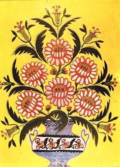 Марія Примаченко Картини Рожеві квіти в синій вазі