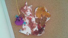 Herfstzakje: geschilderde eikels,  kastanjes ...