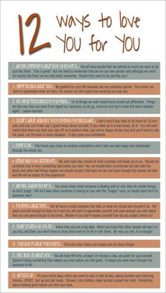 12 ways to love you for you. I think this is great for our young girls who are going through so much as they grow up. It's amazing to me how early self-esteem diminishes. Relation D Aide, Leadership, Out Of Touch, Therapy Tools, Therapy Ideas, Self Compassion, Coping Skills, Life Skills, Learn To Love
