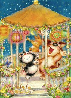 "11 Postkarte von Lisi Martin - monikas "" salemoon SHOP"" www. Cute Animal Illustration, Creative Illustration, Illustration Art, Animal Illustrations, Shopkins And Shoppies, Spanish Artists, Gif Animé, Kawaii, Invitations"