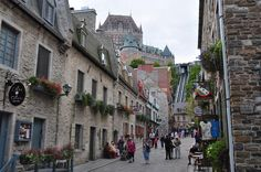 Québec City - a great vantage point to see the Château Frontenac (top). Walking through old Quebec city you can almost expect to meet Champlain or Cartier walking by in this historical city.  web source - MReno