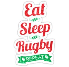 """""""Eat, Sleep, Rugby, Repeat"""" Stickers by gamefacegear 