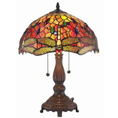 Amora Lighting Tiffany-style Style Dragonfly Table Lamp