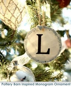 Pottery Barn Inspired Monogram Ornaments featuring Aimee from It's Overflowing {Handmade Ornament No.10}