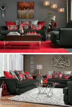Red and grey color scheme for living room :) See More. Love the pops of  color,and the art work however the messed up rectangles would