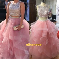 Sequin Beaded Ruffle Organza Two Piece Ball Gowns Prom Dresses 2019 – alinanova - Blush pink prom dresses two piece ball gown Source by alinanovacouture - Blush Pink Prom Dresses, Cute Prom Dresses, Sweet 16 Dresses, Elegant Dresses, Pink Wedding Gowns, Red Homecoming Dresses, Pink Gowns, Dress Prom, Ball Gowns Prom