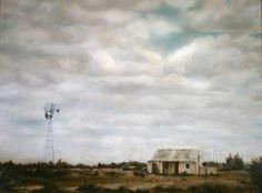 """""""Rietbron"""" - Karoo by Janet Dirksen Sa Tourism, Windmill Art, Old Houses, Farm Houses, Office Pictures, Tomorrow Is Another Day, South African Artists, Le Moulin, Countries Of The World"""