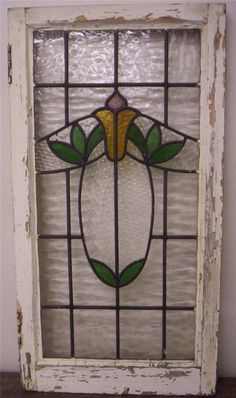 Large OLD English Leaded Stained Glass Window Pretty Floral Design
