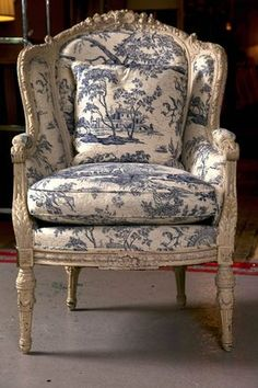 Antique French Wingback Bergere Chair with blue and white toile French Country Rug, French Decor, French Country Decorating, French Style, Country Style, French Country Furniture, French Country Living Room, Shabby Chic Furniture, Rustic Furniture