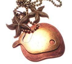 Two Tone Bronze Copper Whale Pendant and Two by Pendantmonium, $25.00