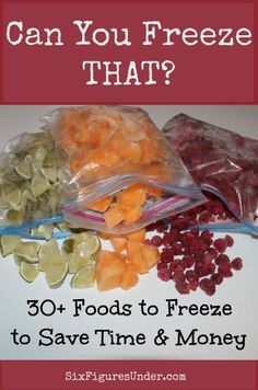 Here's a list of 30+ foods you can freeze, along with some tips for each one. Save money and time by maximizing the use of your freezer!