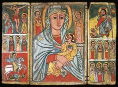 """Triptych Icon, Ethiopian, c. 1750-1855, distemper and gesso on wood. Left panel, top (left to right): Mary, """"Our God is Crucified"""" and St. John the Evangelist; middle: Four apostles or saints; bottom: St. George and the Dragon. Center panel: Mary with Her Beloved Son flanked by the Archangels-- Michael (left) and Gabriel (right). Right panel, top: The Resurrection (Descent into Limbo) with Adam and Eve; middle: Four apostles or saints; bottom: Four apostles or saints"""