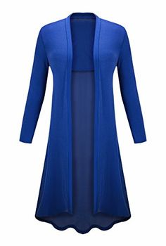 AM CLOTHES Womens Casual Open Front Splice Long Maxi Thin CardiganRoyal BlueOne size fits for medium to 2XL ** Click image to review more details.