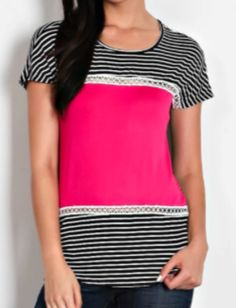 Pink ColorBlock with Lace Accent Top