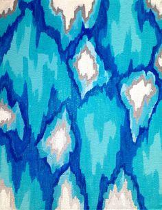 Frozen Glitter Ice Blue Ikat Canvas