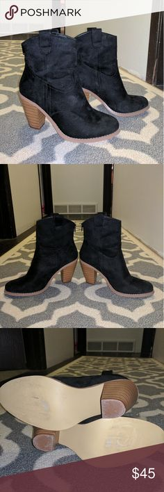 Black booties Worn once super cute black suede booties Shoe Dazzle Shoes Ankle Boots & Booties