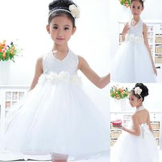 Romantic White Bead Layered Flower Girl Wedding Pageant Princess Formal Dresses  zoe dress