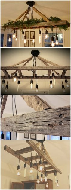 Vintage Farmhouse Ladder Chandelier - Cozy up to the table and enjoy a meal with your loved ones under the light of our reclaimed ladder chandelier! With the soft amber glow of the Edison bulbs and weathered ladder overhead, happy memories of a bygone era are sure to come to mind. Great for the dining room table, kitchen island... #chandelier #ladder #farmhouse #pendant #kitchen #vintage #edison #bulb #wood