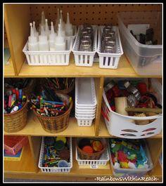 glitter salt and pepper shakers  - Brilliant!!!!!  Organized Classroom Art Supplies on Shelves