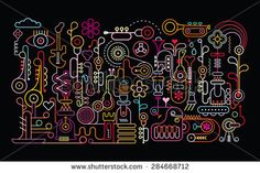 Music Shop abstract art vector illustration. Neon light silhouettes on black…
