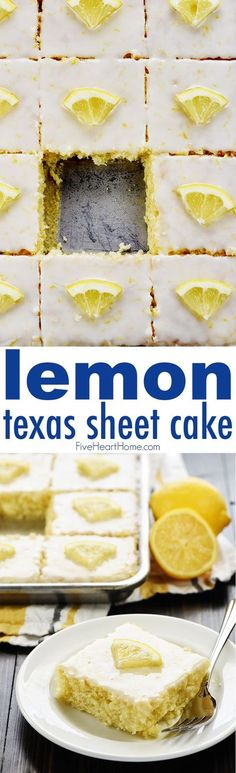 Lemon Texas Sheet Cake ~ a super moist, homemade cake recipe topped with a tangy lemon glaze...it's easy to make and it feeds a crowd! | FiveHeartHome.com