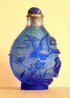 Blue Overlay Blue Glass Snuff Bottle