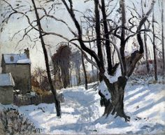 Camille Pissarro (French, Impressionism, Neve a Louveciennes, Camille Pissarro, Manet, Claude Monet, Renoir, Winter Painting, Winter Art, Paul Gauguin, Gustave Courbet, Impressionist Artists