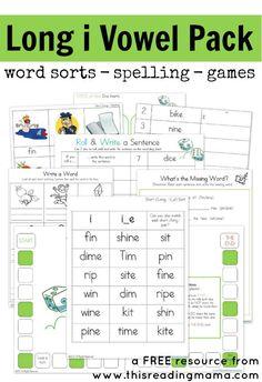 Long i Vowel Pattern (FREE Printable Pack)