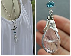 FREE SHIPPING Dandelion Seed Necklace or by KitschyKooDesign
