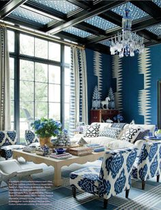 Talk about reinventing your traditional blue and white...love it!