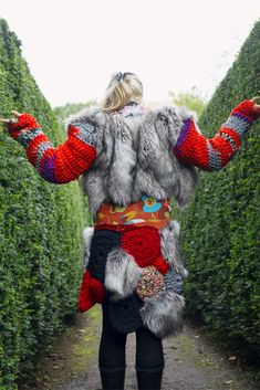 Shamanic DURGA Wolf Faux Fur w. Recycled Crochet Vest, Warrior Goddess, Tribal