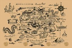 Treasure Map Drawing | Lost Island Treasure Map Brown Drawing