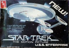 The first Motion Picture Enterprise model kit, 1979. The first issue had excellent dry-transfer decals for the hull and special prismatic sticker decals for the warp nacelles, as well as a five-lamp lighting kit.