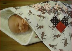 Tiny Charmer Natural Brown MODA SOCK MONKEY by BearHugBabyQuilts