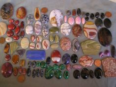 Lot Vintage Loose Polished Cabochons Gem Stones 70's Jewelry Making Estate 1 LB