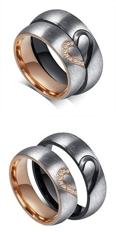 ROWAG 6MM Men Heart Shape Titanium Stainless Steel Couple Wedding Rings for Him and Her Women Cubic Zirconia CZ Inlaid Promise Engagement Bands