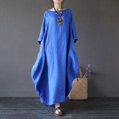 Dress - Women Summer Vintage Cotton Linen Loose Dress