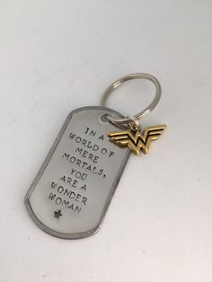 Hand Stamped Keychain - Wonder Woman Keychain - great for Mother's Day - heart or star charm by DustLily on Etsy https://www.etsy.com/listing/229311202/hand-stamped-keychain-wonder-woman